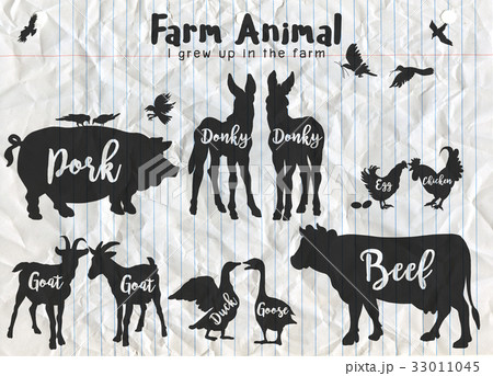 Farm Animals Silhouettes Isolated  33011045