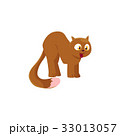 Comic style brown domestic cat with bushy tail 33013057