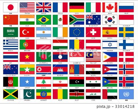 世界の国旗セット 日本語表記 ベクター 33014218