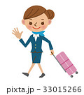 キャビンアテンダント スチュワーデス スーツケースのイラスト 33015266