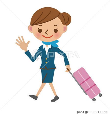 スーツケースを持ちフライトへ出発するキャビンアテンダント 33015266