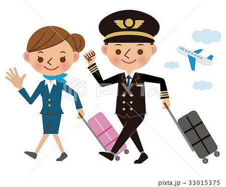 スーツケースを持ったパイロットとキャビンアテンダント 33015375