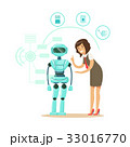 ビジネスウーマン 女性実業家 ロボットのイラスト 33016770