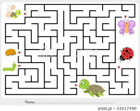 Maze game: Match animal finding the babyのイラスト素材 [33017490] - PIXTA