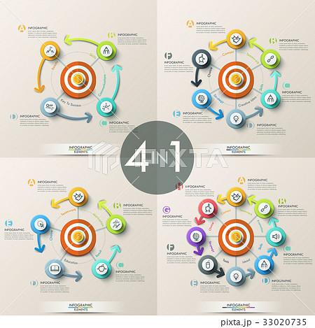 set of 4 modern infographic design templatesのイラスト素材 33020735
