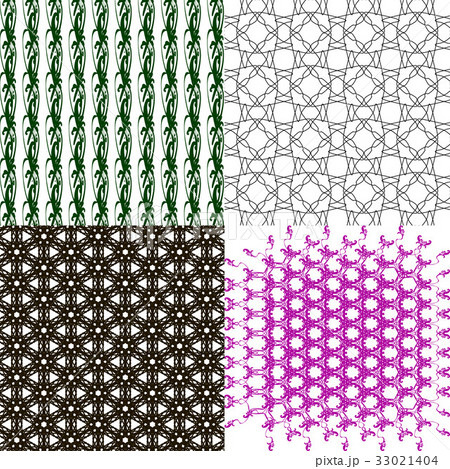 Set of abstract vintage geometric wallpaper patterのイラスト素材 [33021404] - PIXTA