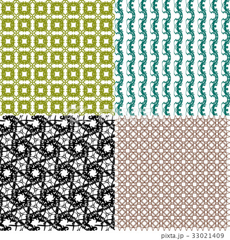 Set of abstract vintage geometric wallpaper patterのイラスト素材 [33021409] - PIXTA