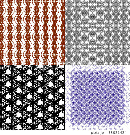 Set of abstract vintage geometric wallpaper patterのイラスト素材 [33021424] - PIXTA