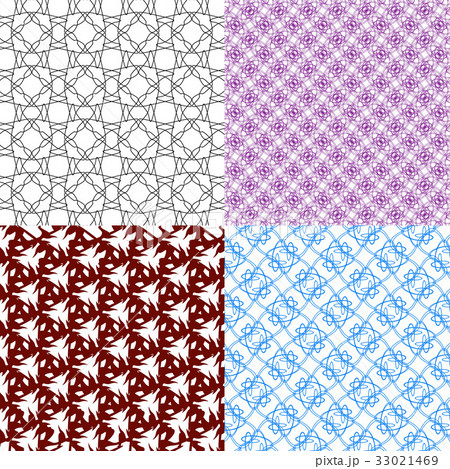 Set of abstract vintage geometric wallpaper patterのイラスト素材 [33021469] - PIXTA