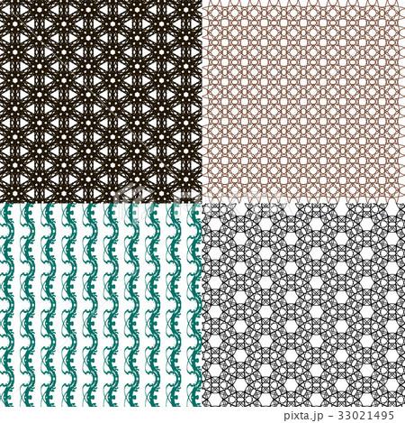 Set of abstract vintage geometric wallpaper patterのイラスト素材 [33021495] - PIXTA