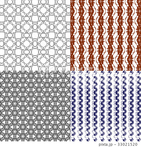Set of abstract vintage geometric wallpaper patterのイラスト素材 [33021520] - PIXTA