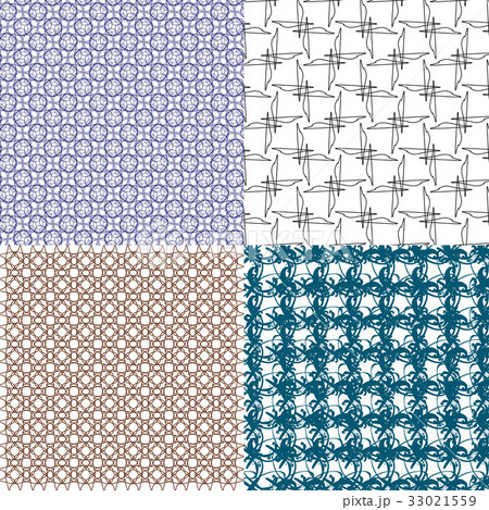Set of abstract vintage geometric wallpaper patterのイラスト素材 [33021559] - PIXTA