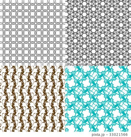 Set of abstract vintage geometric wallpaper patterのイラスト素材 [33021566] - PIXTA