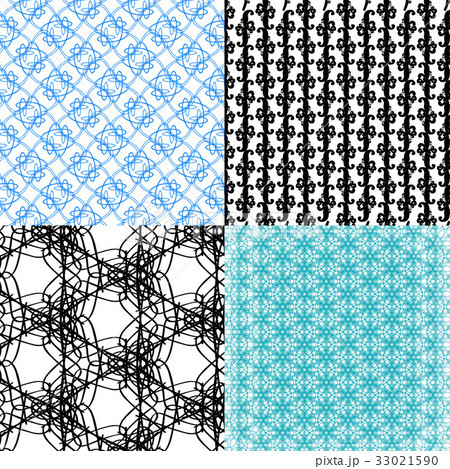 Set of abstract vintage geometric wallpaper patterのイラスト素材 [33021590] - PIXTA