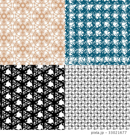 Set of 4 monochrome elegant patterns.Vector ornameのイラスト素材 [33021677] - PIXTA