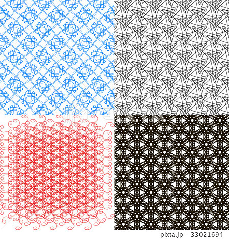 Set of 4 monochrome elegant patterns.Vector ornameのイラスト素材 [33021694] - PIXTA