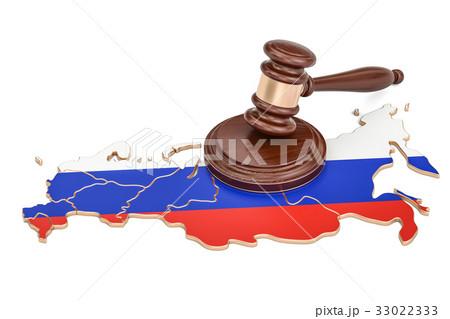 Wooden Gavel on map of Russia, 3D renderingのイラスト素材 [33022333] - PIXTA
