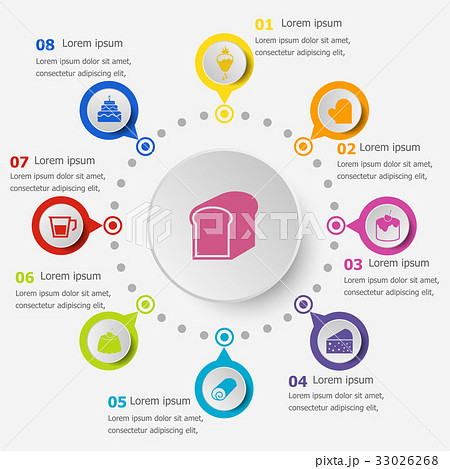 Infographic template with bakery icons 33026268