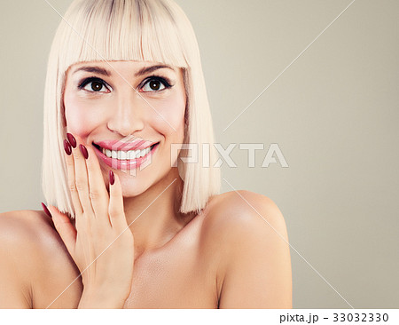 Happy Surprised Woman with Cute Smile 33032330