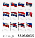 Collection of flags of world on flagpole 33036035