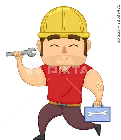 Man Construction Worker Tool Box 33038481