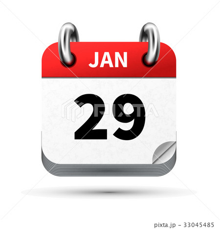 realistic icon of calendar with 29 january dateのイラスト素材