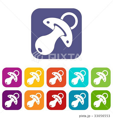 Baby pacifier icons set flat 33056553