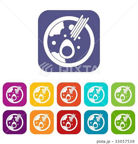 Miso soup icons set flat 33057539