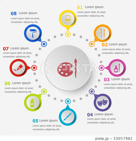 Infographic template with art icons 33057982