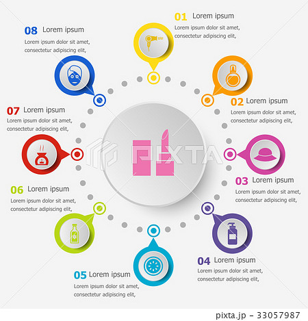 Infographic template with beauty icons 33057987