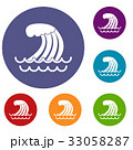 Tsunami wave icons set 33058287