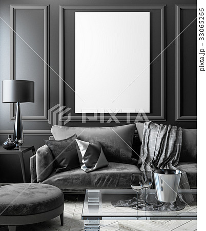 Classic black interior mock up with sofa, glass 33065266