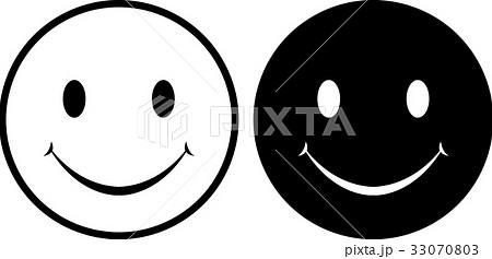 ニコちゃんマークモノクロのイラスト素材 33070803 Pixta