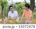 人物 男性 ベンチの写真 33072978