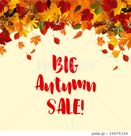 autumn fall leaves vector sale poster templateのイラスト素材