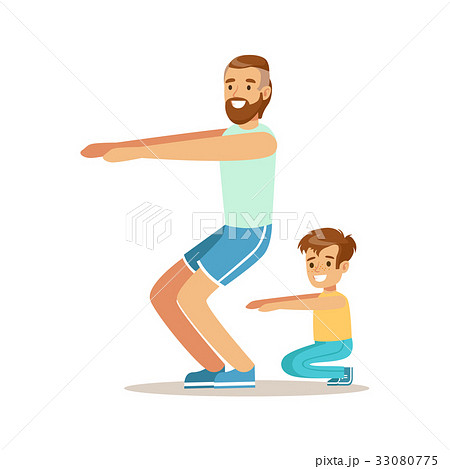 Smiling man and boy squatting, dad and son having 33080775