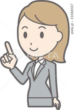 スーツを着た若い女性が指差ししているイラストのイラスト素材