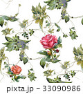 Watercolor painting of flowers, rose , pattern 33090986
