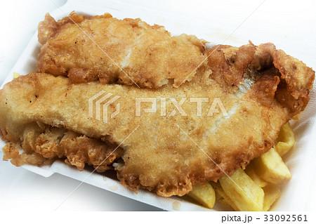 イギリスのフィッシュ チップス british style fish and chipsの写真素材
