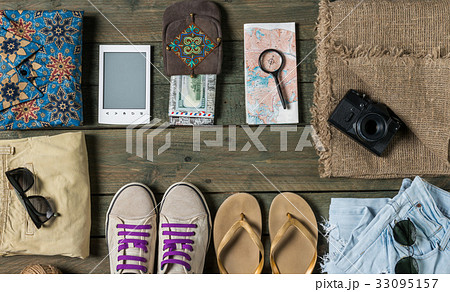 Summer traveling stuffの写真素材 [33095157] - PIXTA