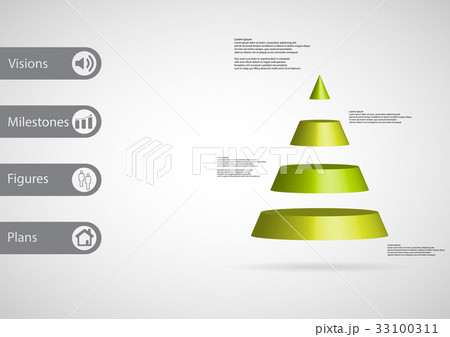 3d illustration infographic template with triangleのイラスト素材