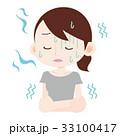 クーラー 冷えすぎ 女性のイラスト 33100417