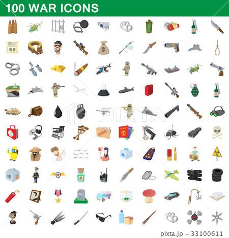 100 war icons set, cartoon style 33100611