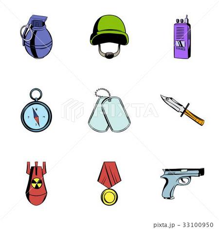 Military icons set, cartoon styleのイラスト素材 [33100950] - PIXTA