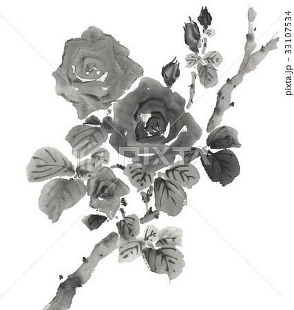 薔薇 墨絵調 33107534