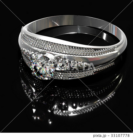 Silver engagement band with diamond gem. 33107778