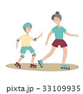 Mother and son on roller skates. Family Sports and 33109935