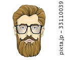 Face of a bearded man with glasses. Vector 33110039