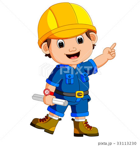Cute architect wearing helmet and holding a bluepr 33113230