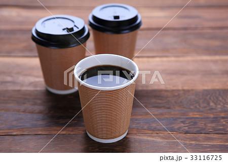 紙コップに淹れたホットコーヒーの写真素材 [33116725] - PIXTA